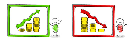 Collection of cartoon people with coin stacks charts and arrows. Vector