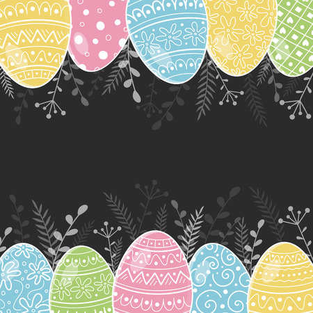 Layout of an Easter greeting card with hand drawn eggs. Vector