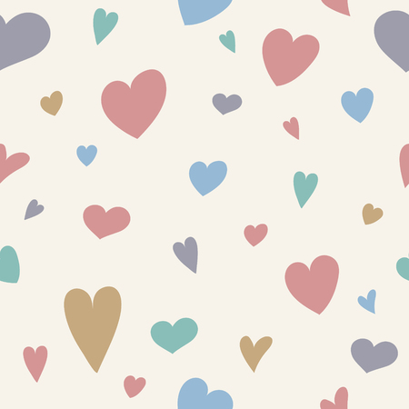 Seamlees pattern with hand drawn hearts. Valentines Day, Mothers Day and Womens Day. Vector Stock Illustratie