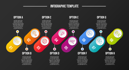 Design of a company timeline with business icons - infographic template. Vector Illusztráció
