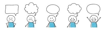 Cartoon people with empty speech bubbles - set. Vector 免版税图像 - 121881433