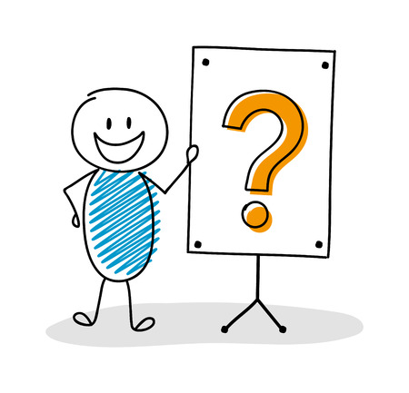 Funny hand drawn stickman with whiteboard and question mark icon. Vector