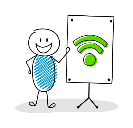 Funny hand drawn stickman with whiteboard and wifi - internet icon. Vector