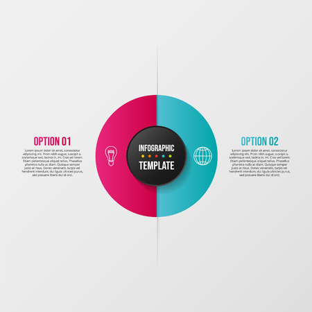 Design of a company timeline with business icons - infographic template. Vector Ilustração