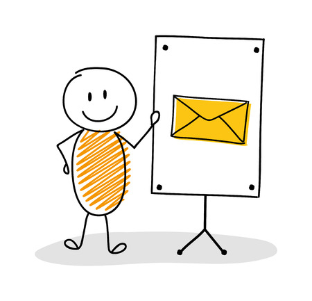 Business cartoon person with whiteboard and envelope icon. Vector