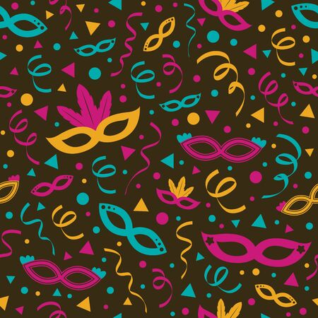 Carnaval Party seamless texture with colorful masks and serpentines. Vector  イラスト・ベクター素材
