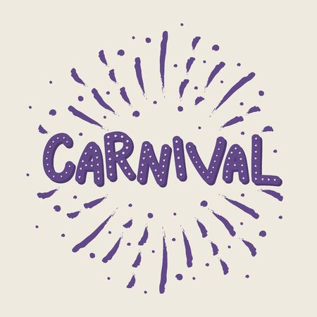 Concept of Carnival typography with hand drawn fireworks. Vector