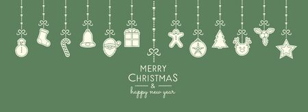 クリスマスは、ぶら下がった装飾で願っています。ベクトル。  イラスト・ベクター素材
