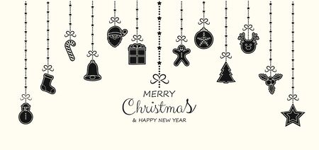 Christmas greeting card with hanging ornaments. Vector.