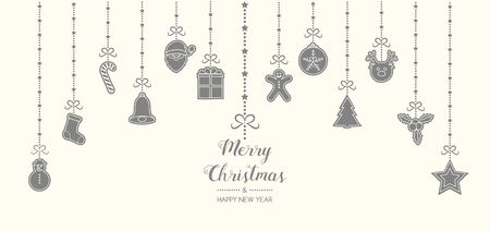 Christmas decoration with wishes and hanging hand drawn elements. Vector.