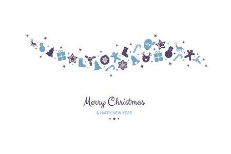 願いと手描きの装飾品とクリスマスポストカードのデザイン。ベクトル。