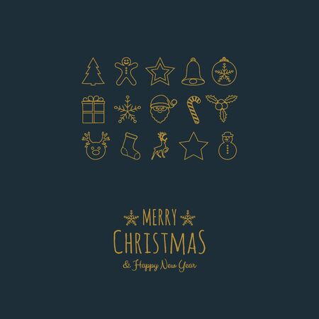Merry Christmas and Happy New Year - card with hand drawn decorations. Vector.