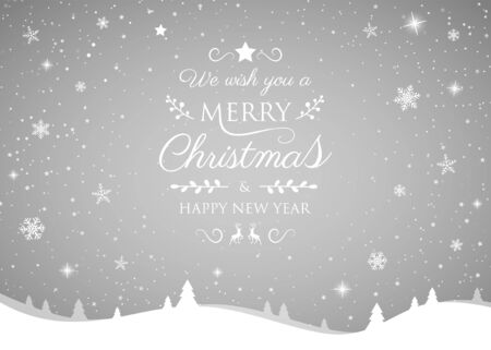 Christmas greeting card with shiny snowflakes. Vector.