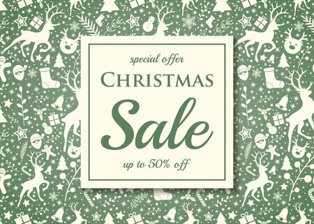 Christmas Sale - colorful flyer with decorations. Vector.