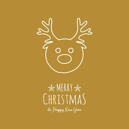 Christmas wishes - hand drawn greeting card with reindeer. Vector.  イラスト・ベクター素材