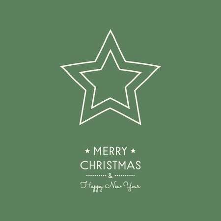 Merry Christmas and Happy New Year - card with hand drawn star. Vector.  イラスト・ベクター素材
