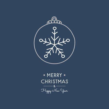 Christmas ball - hand drawn greeting card. Vector.