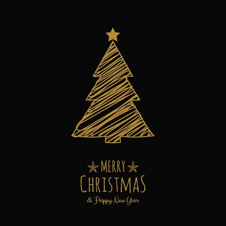 Design of Christmas tree with wishes and ornaments. Vector.