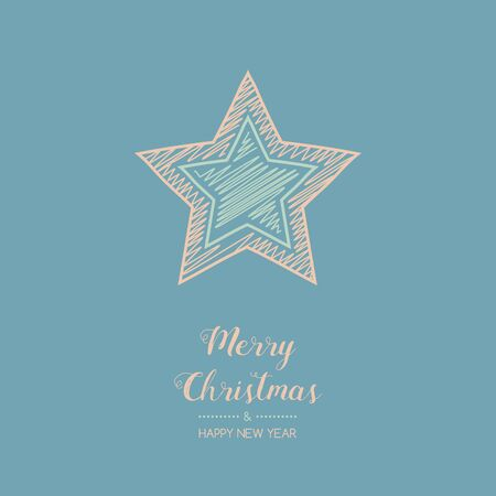 Christmas wishes with hand drawn star. Vector.