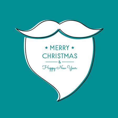Christmas greeting card with hand drawn Santa Claus beard. Vector.