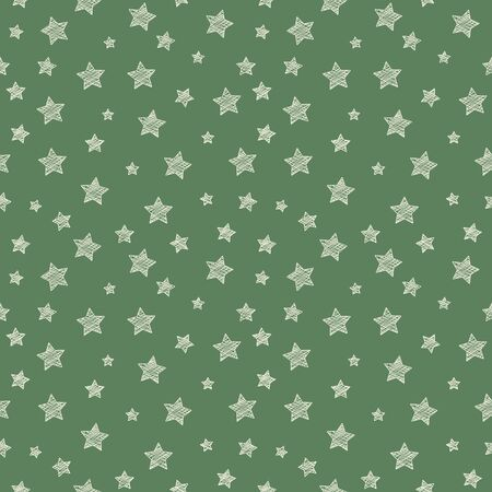 Seamless pattern with hand drawn stars. Vector.