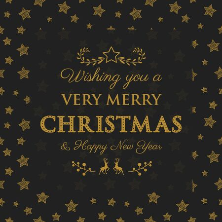 Merry Christmas and Happy New Year - background with starts and decorative text. Vector.