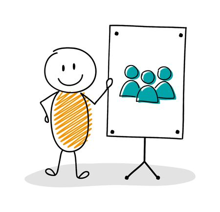 Business cartoon person with whiteboard and group of people icon. Vector