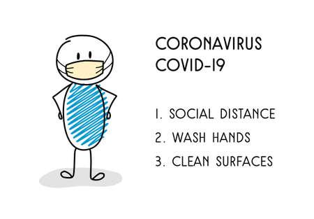 Prevention tips for coronavirus epidemic. Vector