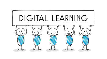 """Cartoon people holding banner with """"digital learning"""" text.  Trainings during coronavirus epidemic. Vector"""