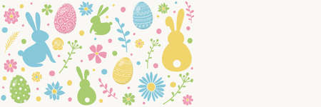 Colourful Easter decoration. White background with decorative eggs, bunnies and flowers. Banner. Vector