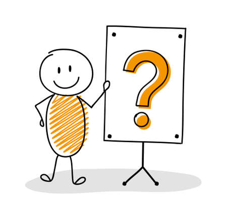 Business cartoon person with whiteboard and question mark icon. Vector Ilustración de vector