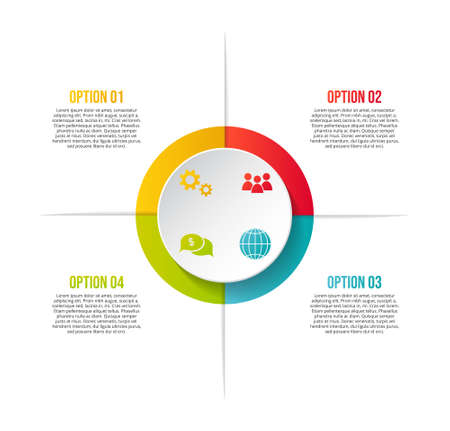 Design of colorful company infographic with icons. Vector Illusztráció