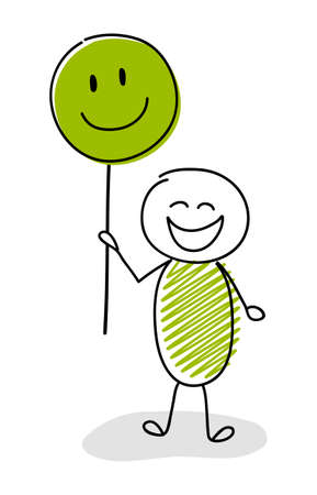 Hand drawn stickman holding funny balloons with happy emoticons. Vector Ilustrace