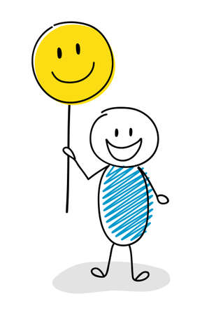 Hand drawn stickman holding funny balloons with smiley emoticons. Vector