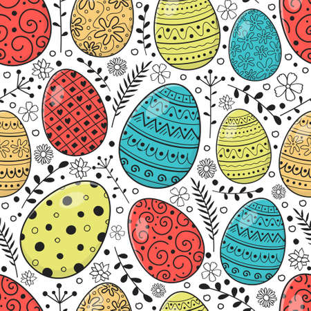 Seamless pattern with colorful hand drawn Easter eggs. Vector 向量圖像
