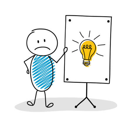 Business cartoon person with whiteboard and light bulb icon. Vector 向量圖像