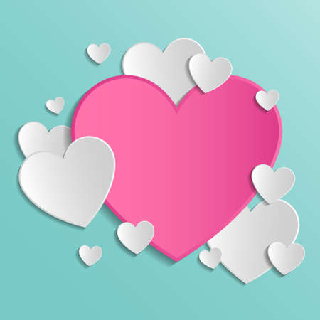 Empty background with paper cut hearts - Valentine's Day, Mother's Day and Women's Day concept. Vector