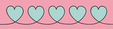 Beautiful hand drawn hearts - panoramic banner. Valentine's Day, Mother's Day and Women's Day. Vector
