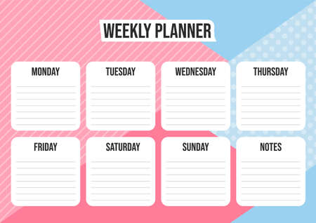 Weekly planner with abstract geometrical background, daily plans and notes. Vector