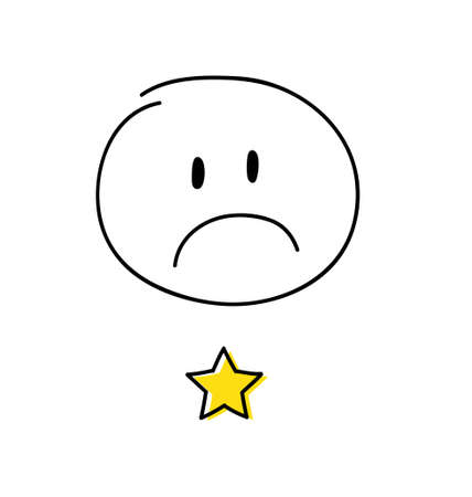 Review - one star rating. Happy white coloured stickman. Vector.