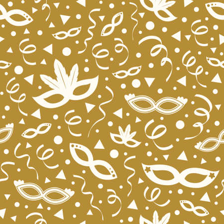 Carnival Party seamless pattern with masks and confetti. Vector. Illustration