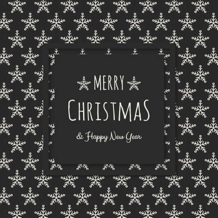 Christmas greeting card with hand drawn snowflakes. Vector.