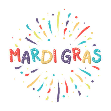 Mardi Gras greeting card with colorful fireworks. Vector