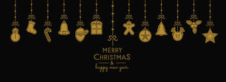 Christmas decoration with hanging elements. Vector.