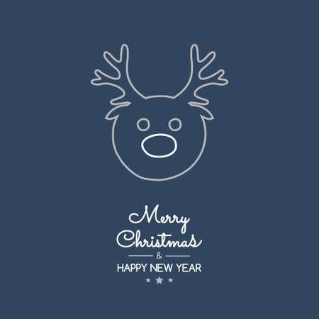 Christmas greetings with hand drawn reindeer. Vector. Ilustração Vetorial