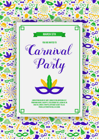 Carnaval Party invitation with colorful background. Vector.