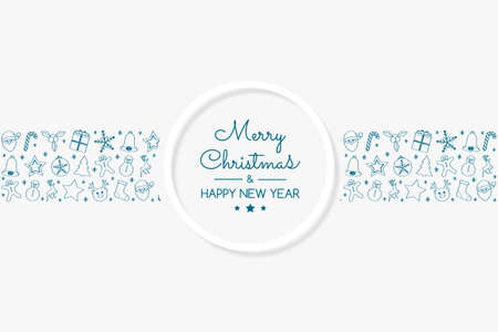 Christmas decoration with hand drawn elements. Vector. Vettoriali