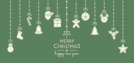 Vintage Christmas card with hanging hand drawn elements. Vector. Vettoriali