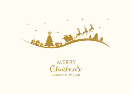 Christmas wishes - hand drawn greeting card with Santa Claus. Vector. Vettoriali