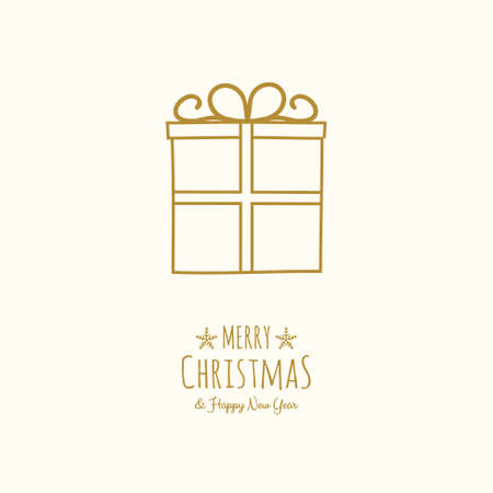 Concept of Christmas greeting card with hand drawn gift. Vector.